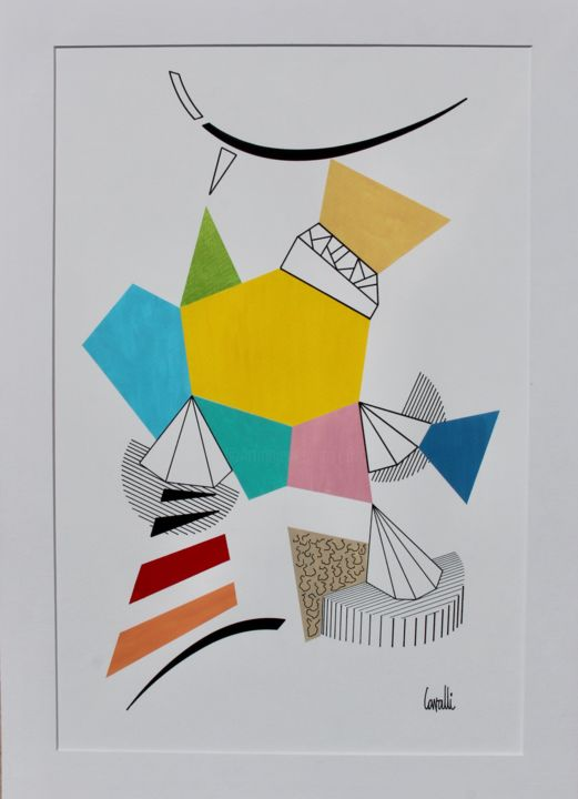 20 089 - Drawing,  27.6x19.7 in, ©2020 by Pascal Cavalli -                                                                                                                                                                          Abstract, abstract-570, Abstract Art