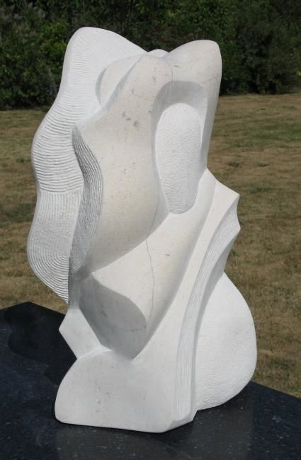 Striato - Sculpture,  18.9x11x6.3 in, ©2010 by Pascal Cavalli -                                                                                                                                                                          Abstract, abstract-570, calcaire poli