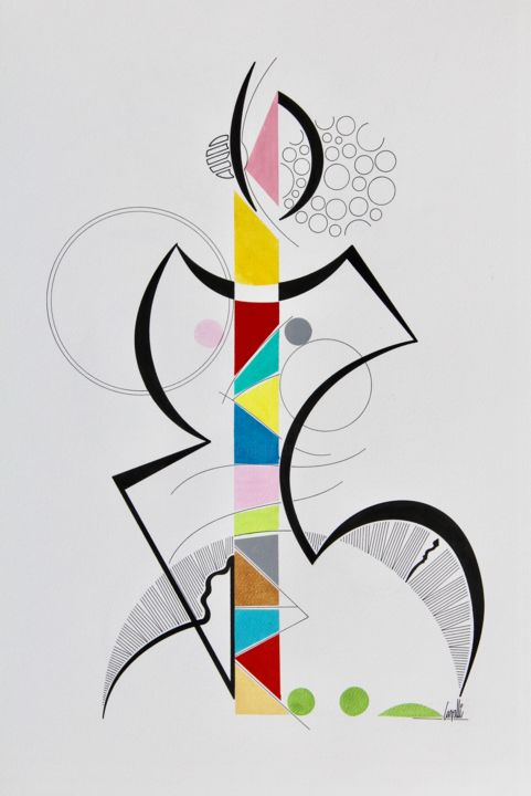 17023 Una Donna - Drawing,  27.6x19.7 in, ©2017 by Pascal Cavalli -                                                                                                                                                                          Abstract, abstract-570, Abstract Art