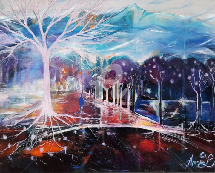 """""""Quelques notes"""" - Painting,  28.7x36.2 in, ©2013 by Marie Cavoret -                                                                                                                                                      transparence, aix les bains, promenade"""