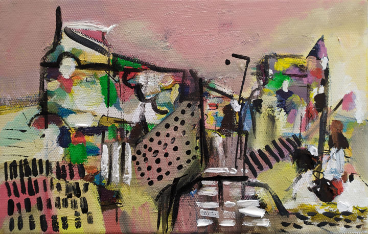 Brest - Painting,  5.5x8.7 in ©2019 by Muriel Cayet -                                        Contemporary painting, Landscape
