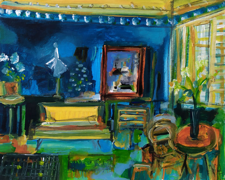 Chez Katia - Painting,  7.9x9.8 in, ©2019 by Muriel Cayet -                                                              Interiors