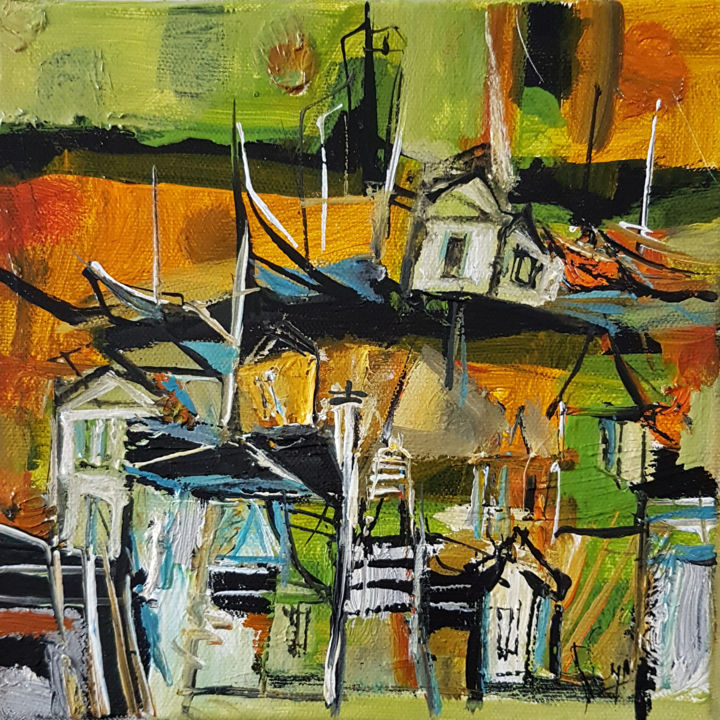 Marche verte sur l'erre - Painting,  7.9x7.9 in, ©2020 by Muriel Cayet -                                                                                                                                                                          Expressionism, expressionism-591, Landscape
