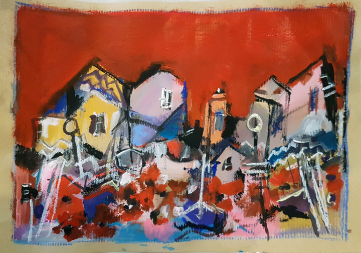 Village sans ombres - Painting,  8.3x11.7 in, ©2020 by Muriel Cayet -                                                                                                                                                                          Expressionism, expressionism-591, Landscape
