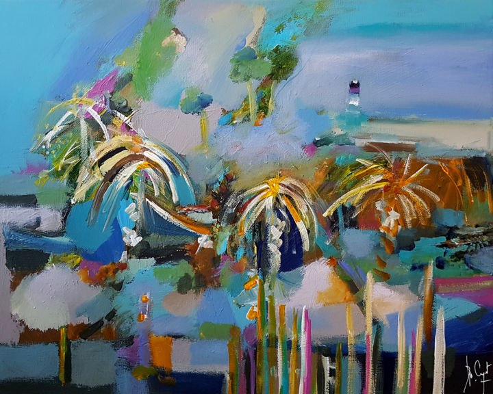Country of palisades - Painting,  15.8x19.7x0.8 in, ©2020 by Muriel Cayet -                                                                                                                                                                          Expressionism, expressionism-591, Landscape