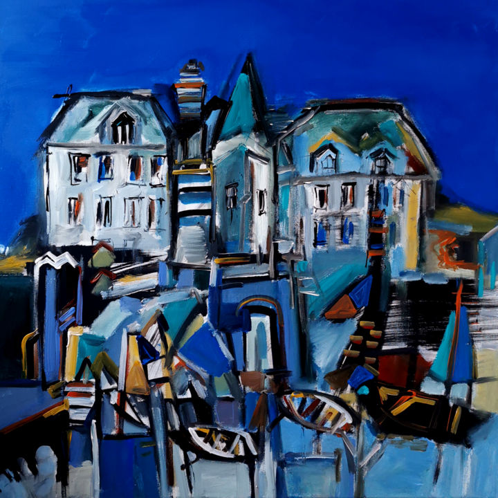 Villavoir - Painting,  31.5x31.5x0.8 in, ©2020 by Muriel Cayet -                                                                                                                          Expressionism, expressionism-591