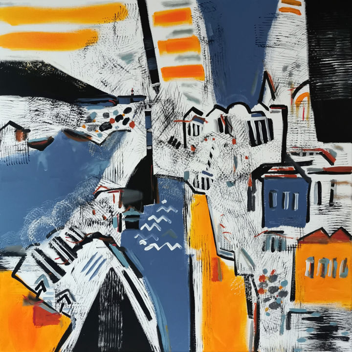 Ondes maritimes - Painting,  31.5x31.5x0.8 in, ©2020 by Muriel Cayet -                                                                                                                          Expressionism, expressionism-591