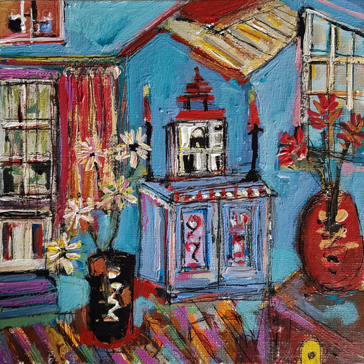 Chez Lison - Painting,  7.9x7.9 in, ©2021 by Muriel Cayet -                                                                                                                                                                          Expressionism, expressionism-591, intérieur