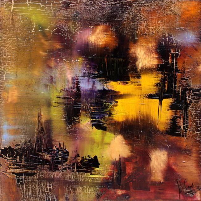 Armor Village - Painting,  40x40 cm ©2009 by Muriel Cayet -