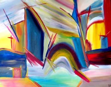 Moulins - Collection privée de l'artiste - Painting ©2003 by Muriel Cayet -                        Abstract Art