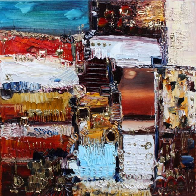 Couchant Levant - Painting,  40x40 cm ©2010 by Muriel Cayet -