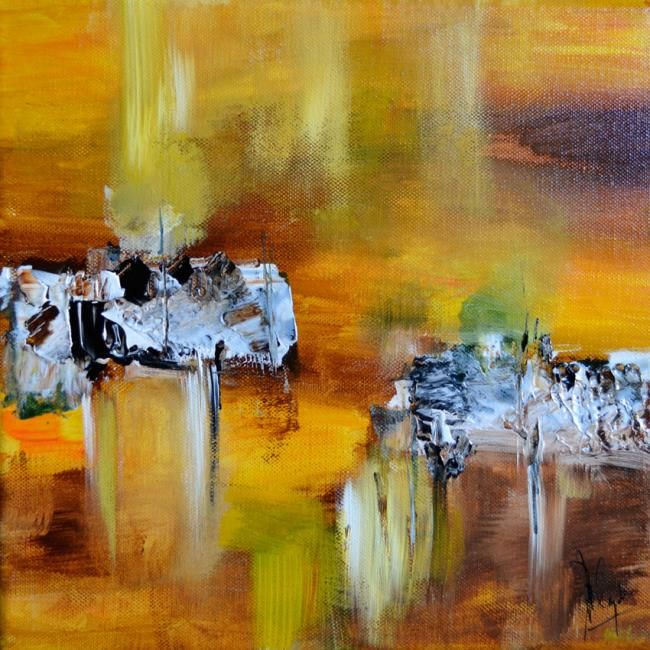 Ocre marine II - Painting,  30x30 cm ©2011 by Muriel Cayet -