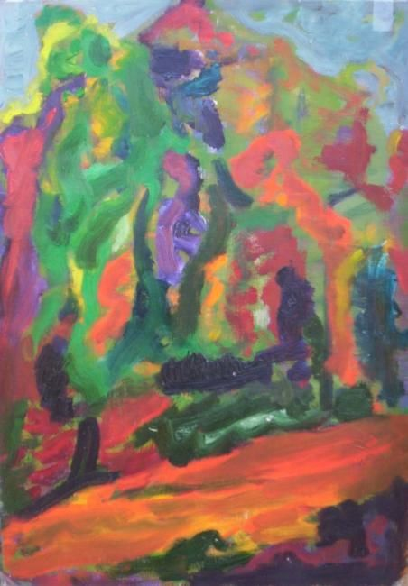 HARBIGSTR 15 - Painting,  27x38 cm ©1995 by cblanco -                            Expressionism, Oleo y acrilico sobre papel. Berlin Wannsee.