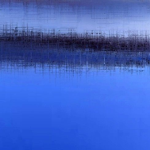 bleu et bleus-5 - Painting,  11.8x11.8 in, ©2006 by Colombe Boucher -