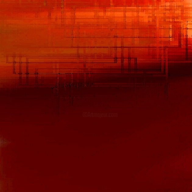 rouge pas vraiment - Painting,  11.8x11.8 in, ©2006 by Colombe Boucher -
