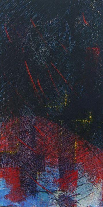 le début de l'histoire - Painting,  39.4x19.7 in, ©2012 by Chamartin -                                                                                                                          Expressionism, expressionism-591