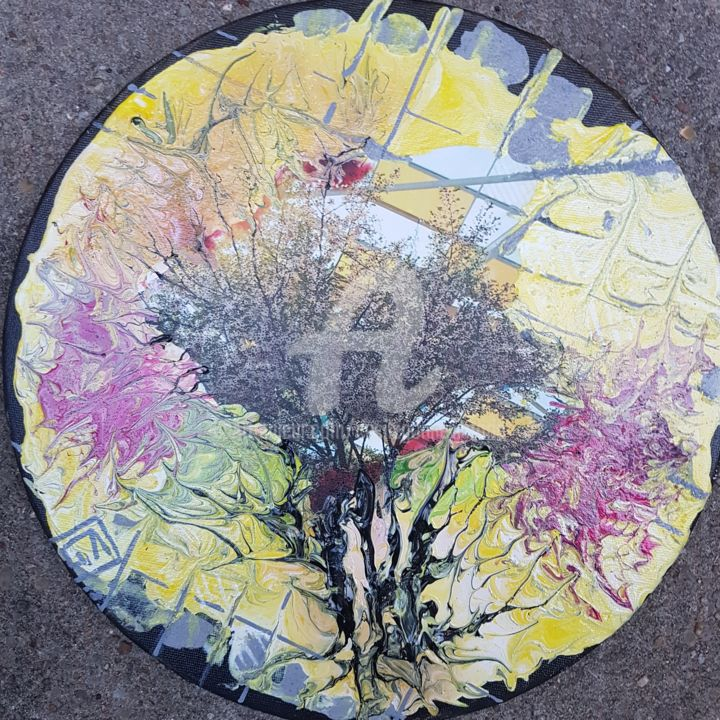 #FLV nature reborn #yellow - Painting,  30x30 cm ©2018 by Cecile Gonne Victoria -                                                        Contemporary painting, Architecture, Tree, FLV, Cecilegonnevictoria, contemporain, collage