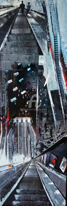 Migration Urbaine - Collages,  47.2x15.8x1.6 in, ©2019 by Cecile Gonne Victoria -                                                                                                                                                                                                                                                                                                                  Expressionism, expressionism-591, Cityscape, escalator, labyrinthe, migration urbaine