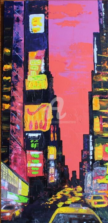 timesquaresoir2.jpg - Painting,  60x30 cm ©2014 by Cecile Gonne Victoria -                                                            Contemporary painting, Canvas, Cities, New York Time square