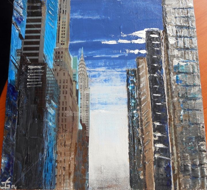 Chrysler Tower NY - Painting,  40x40 cm ©2014 by Cecile Gonne Victoria -            Chrysler Tower NY  mixed media New York
