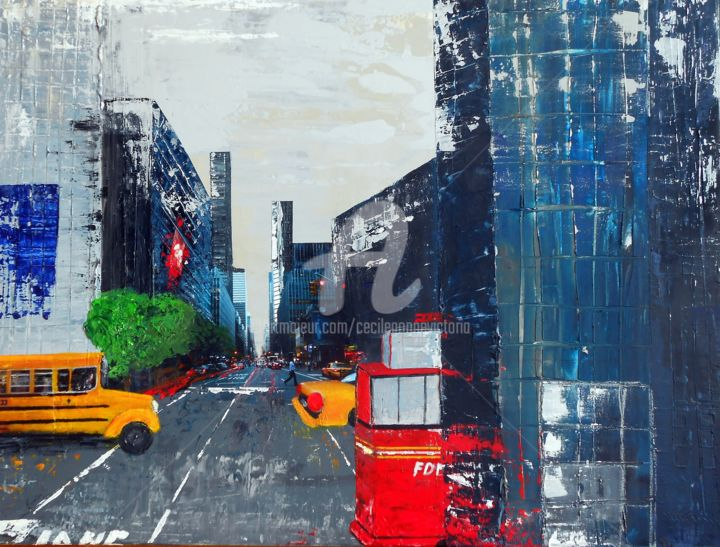 Vieme av New York perspective - Painting,  80x100 cm ©2015 by Cecile Gonne Victoria -                            Cities, New York