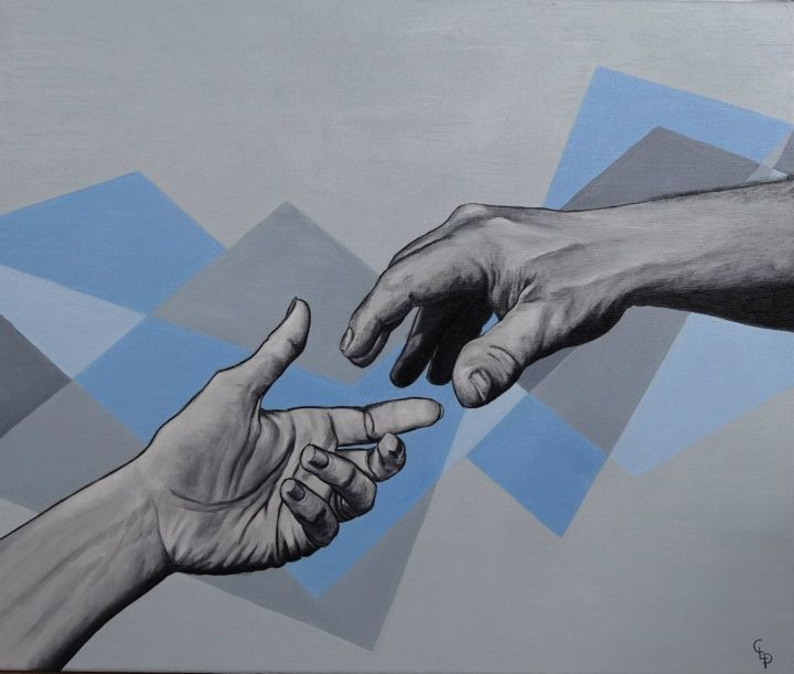 LINKED - Painting,  18.1x21.7x0.8 in, ©2013 by cécile Pardigon -                                                                                                                                                                                                                                                                                                                                                                                                                                                                                                                                                                                                                                                                                                                                                                                                                                                                                                                                                                                                      Figurative, figurative-594, Love / Romance, Body, Family, Geometric, main, mains, amour, aide, famille, passion, entraide, bleu, gris, lien, Love, Hand, Hands, Blue, Grey
