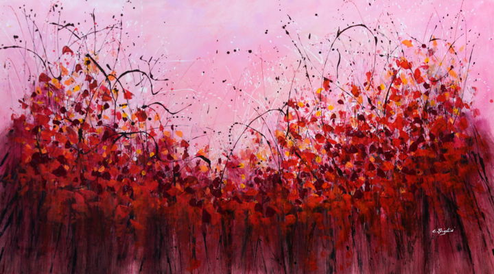 """Painting titled """"Red Vibe - Extra la…"""" by Cecilia Frigati, Original Art, Acrylic"""