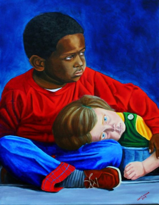 Children - Painting,  24x18 in, ©2013 by Cecil Williams -                                                                                                          boy and girl, black and white children