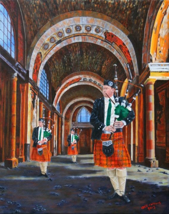 """Painting titled """"3-pipers.jpg"""" by Cecil Williams, Original Art, Oil"""