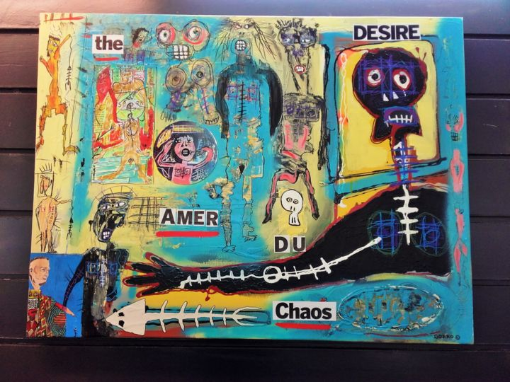 The désire amer du chaos - Painting,  23.6x31.5 in, ©2017 by Cedric Borro -