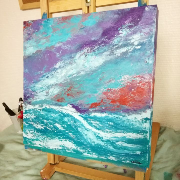 Acrylic painting - Painting,  11.8x11.8 in, ©2018 by Célina Ragout -                                                                                                                                                                                                                                                  Abstract Art, acrylic, painting, wave, sea
