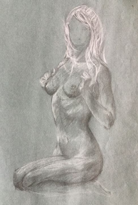 Nue - Drawing,  18.9x12.6x0.1 in, ©2019 by Cline -