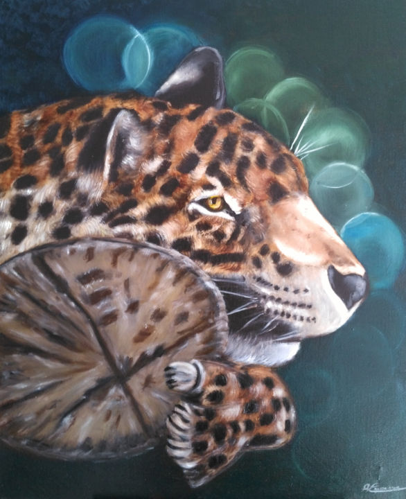 tigre-2017 - Painting,  23.6x19.7x0.8 in, ©2017 by Annick Cernesse -                                                                                                                                                                                                                          Figurative, figurative-594, Animals, animaux tigris félin tronc arbre