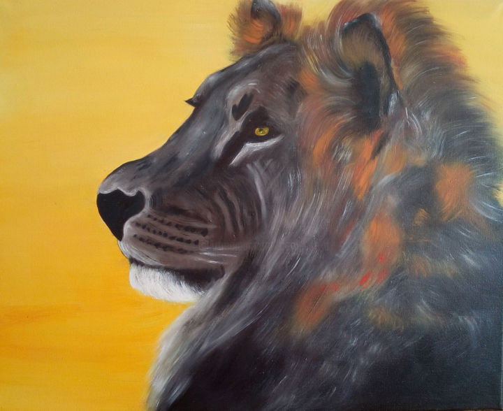 lion-2017 - Painting,  19.7x23.6x0.8 in, ©2017 by Annick Cernesse -                                                                                                                                                                                                                          Figurative, figurative-594, Animals, lion jaune poil animal gros tete