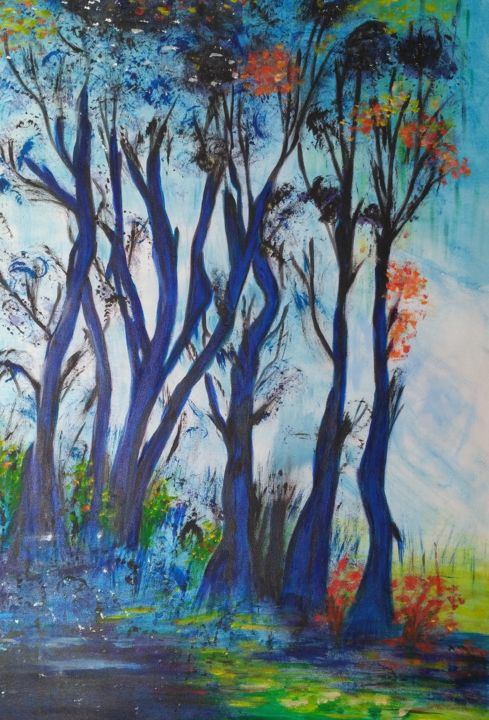 les-arbres. - Painting,  27.6x19.7 in, ©2017 by Annick Cernesse -                                                                                                                                                                                                                                                                                                                                                                                                                                                                                                  Abstract, abstract-570, Tree, nature, arbre, automne, saisons, bois, feuilles, bleu