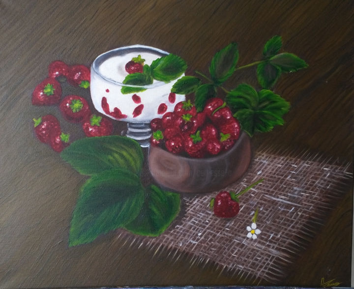 les-fraises-2017. - Painting,  19.7x23.6 in, ©2017 by Annick Cernesse -                                                                                                                                                                                                                                                                          Figurative, figurative-594, Other, Performing Arts, fraises table marron nature morte nappe