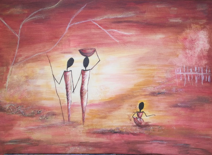 figurines-africaines - Painting,  27.6x31.5x0.6 in, ©2011 by Annick Cernesse -                                                                                                                                                                                                                                                                                                                                                              Abstract, abstract-570, Abstract Art, afrique moderne, rouge, comtemperain, jaune