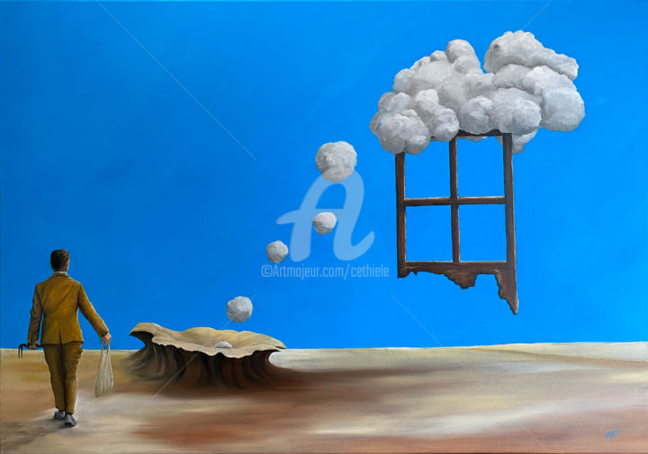 Der Wolkenkratzer - Painting,  27.6x39.4x0.7 in, ©2020 by Carola Eleonore Thiele -                                                                                                                                                                                                                                                                                                                                                                                                                                                                                                  Surrealism, surrealism-627, artwork_cat.Kids, Landscape, People, Men, Men, Children, Teenager, skyscrapers
