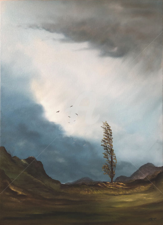 Pappel im Sturm - Painting,  27.6x19.7x0.7 in, ©2020 by Carola Eleonore Thiele -                                                                                                                                                                                                                                                                                                                                                                                                                                                                                                                                              Surrealism, surrealism-627, Tree, Seasons, Nature, pappel, storm, sky, wind, mountain, clouds