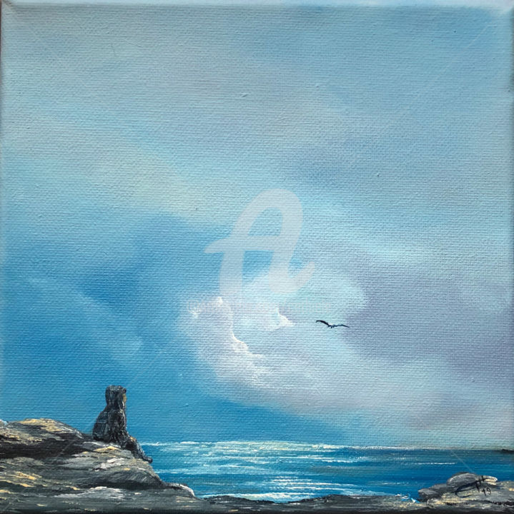 Stille am Meer - Painting,  7.9x7.9x1.4 in, ©2020 by Carola Eleonore Thiele -                                                                                                                                                                                                                                                                                                                                                                                                                                                                                                                                              Surrealism, surrealism-627, Seascape, Nature, Water, Beach, sky, clouds, men, silent, blue