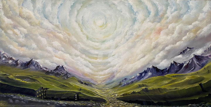 Weg zum Himmel - Painting,  15.8x31.5x1.4 in, ©2018 by Carola Eleonore Thiele -                                                                                                                                                                                                                                                                                                                                                                                                                                                      Surrealism, surrealism-627, Landscape, Nature, Places, clouds, nature, green, windows
