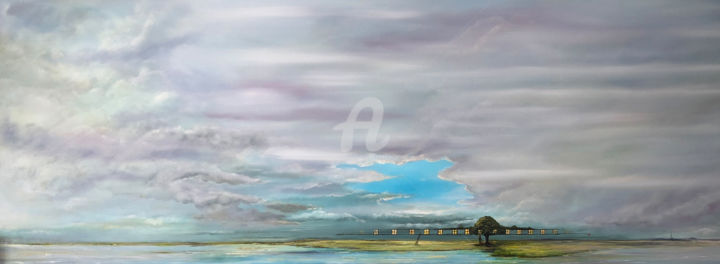 Sommerloch - Painting,  19.7x55.1x1.4 in, ©2017 by Carola Eleonore Thiele -                                                                                                                                                                                                                                                                                                                                                                                                                                                                                                  Surrealism, surrealism-627, Seasons, Landscape, Nature, clouds, landscape, tree, summer, light