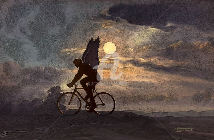 Der Radfahrer---LE 2/300 - Painting,  23.6x35.4x1.4 in, ©2020 by Carola Eleonore Thiele -                                                                                                                                                                                                                                                                                                                                                                                                                                                                                                                                              Symbolism, symbolism-1020, Angels, Landscape, Men, bicycle, man, night, moon, clouds, surrealism