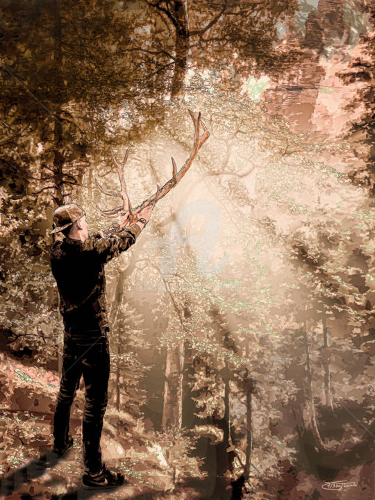 The Call in the forest - Painting,  47.2x35.4x0.9 in, ©2020 by Carola Eleonore Thiele -                                                                                                                                                                                                                                                                                                                                                                                                                                                                                                                                                                                                                                      Figurative, figurative-594, Tree, Seasons, Landscape, Men, Hirsch, wald, geweih, mann, licht, sepia, comic