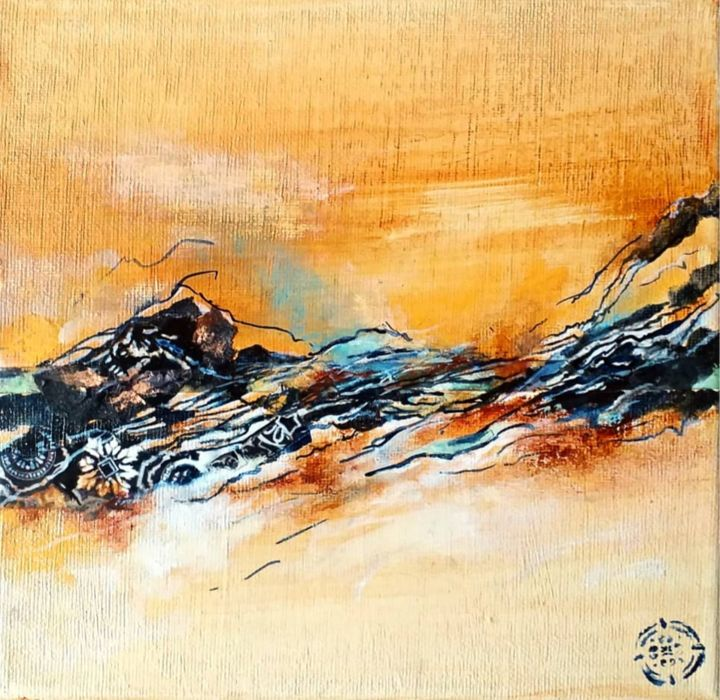 """Painting titled """"Série ocre 1"""" by C.F.X, Original Art, Collages"""
