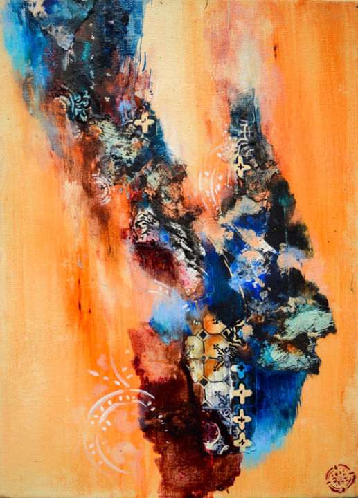 """Painting titled """"Série ocre 3"""" by C.F.X, Original Art, Collages"""