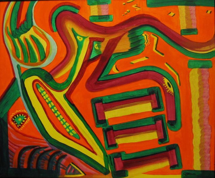 no-43-le-pianiste-51x61cm.jpg - Painting,  61x51 cm ©2001 by Claude Gascon -                                                            Abstract Art, Wood, Abstract Art, pianiste, piano