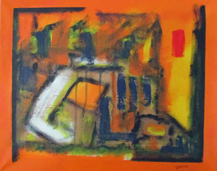 Incendie - Painting,  51x45 cm ©2017 by Claude Gascon -                                                            Abstract Art, Canvas, Abstract Art, incendie, feu, maison