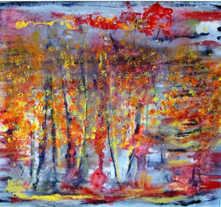 Brouillard d'automne - Mixed Media,  62.5x56 cm ©2018 by Claude Gascon -                                                            Abstract Art, Wood, Landscape, automne, brouillard, matin, val-des-monts