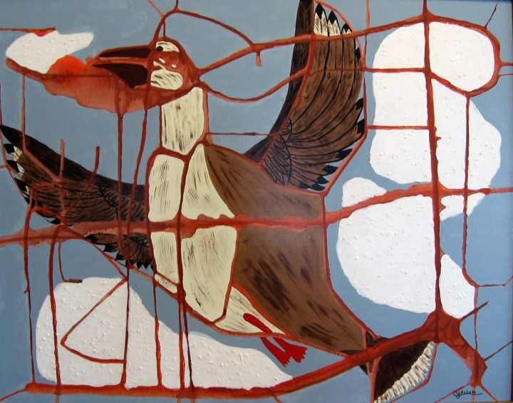 Migrateur - Painting,  24x30.5 in, ©2005 by Claude Gascon -                                                                                                                                                                                                                                                                                                                  Abstract, abstract-570, Birds, oiseau, migrateur, migration